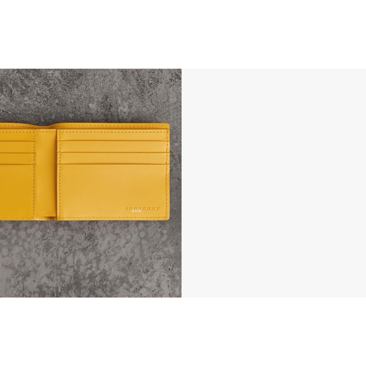 Grainy Leather Bifold Wallet in Bright Ochre Yellow - Men | Burberry Australia - gallery image 1