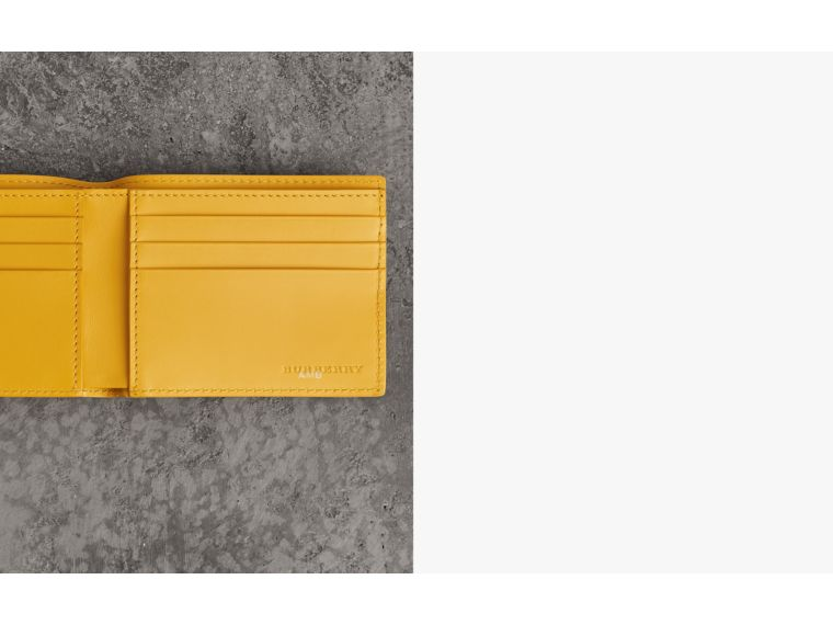 Grainy Leather Bifold Wallet in Bright Ochre Yellow - Men | Burberry Australia - cell image 1