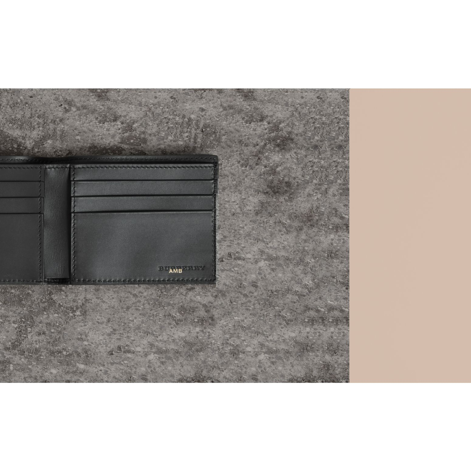 Grainy Leather Bifold Wallet in Black - Men | Burberry - gallery image 1