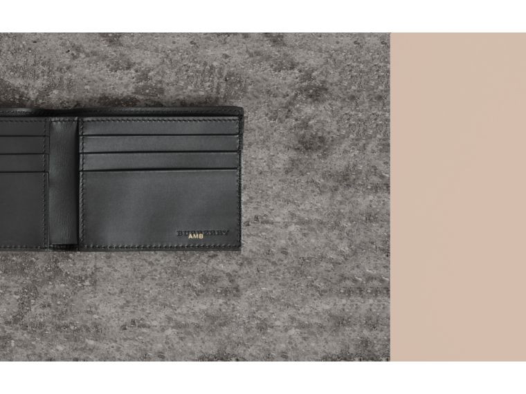 Grainy Leather Bifold Wallet in Black - Men | Burberry - cell image 1