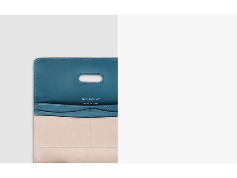 D-ring Grainy Leather Continental Wallet in Stone - Women | Burberry Singapore - cell image 1