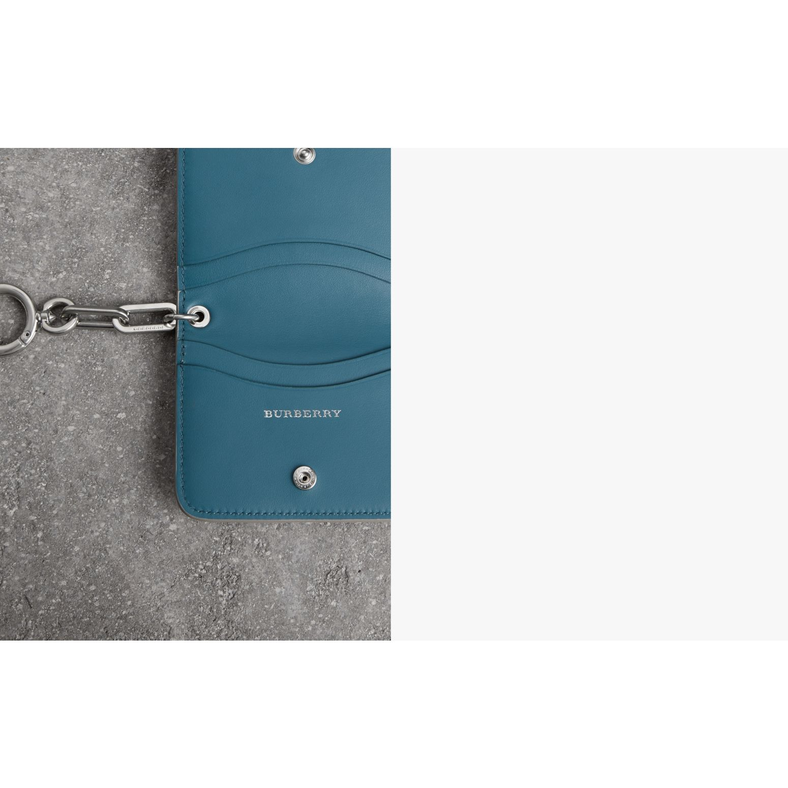 Link Detail Leather ID Card Case Charm in Stone | Burberry Canada - gallery image 1