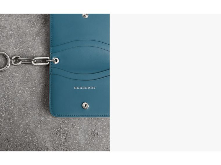 Link Detail Leather ID Card Case Charm in Stone | Burberry Canada - cell image 1
