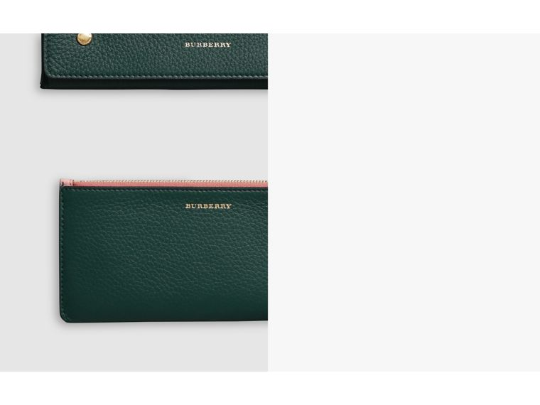 Two-tone Leather Continental Wallet in Dark Cyan - Women | Burberry - cell image 1