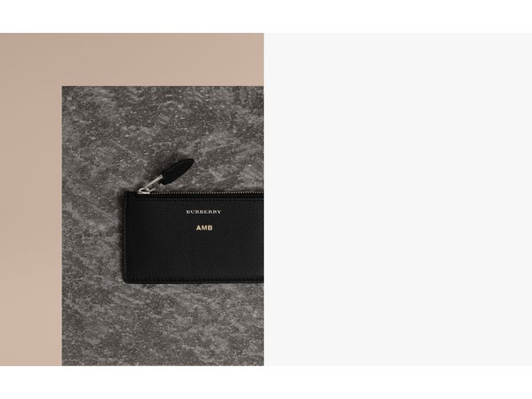 Two-tone Leather Zip Card Case in Black | Burberry Singapore - cell image 1