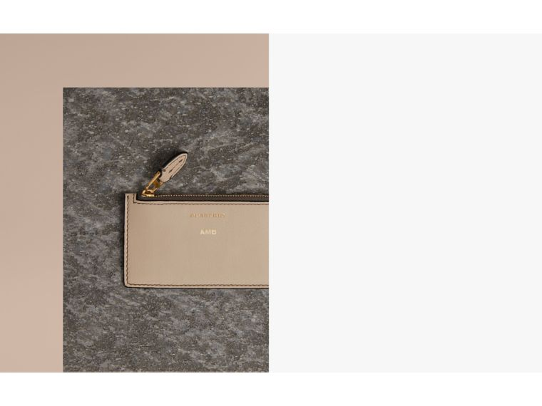 Two-tone Leather Card Case in Limestone | Burberry United States - cell image 1