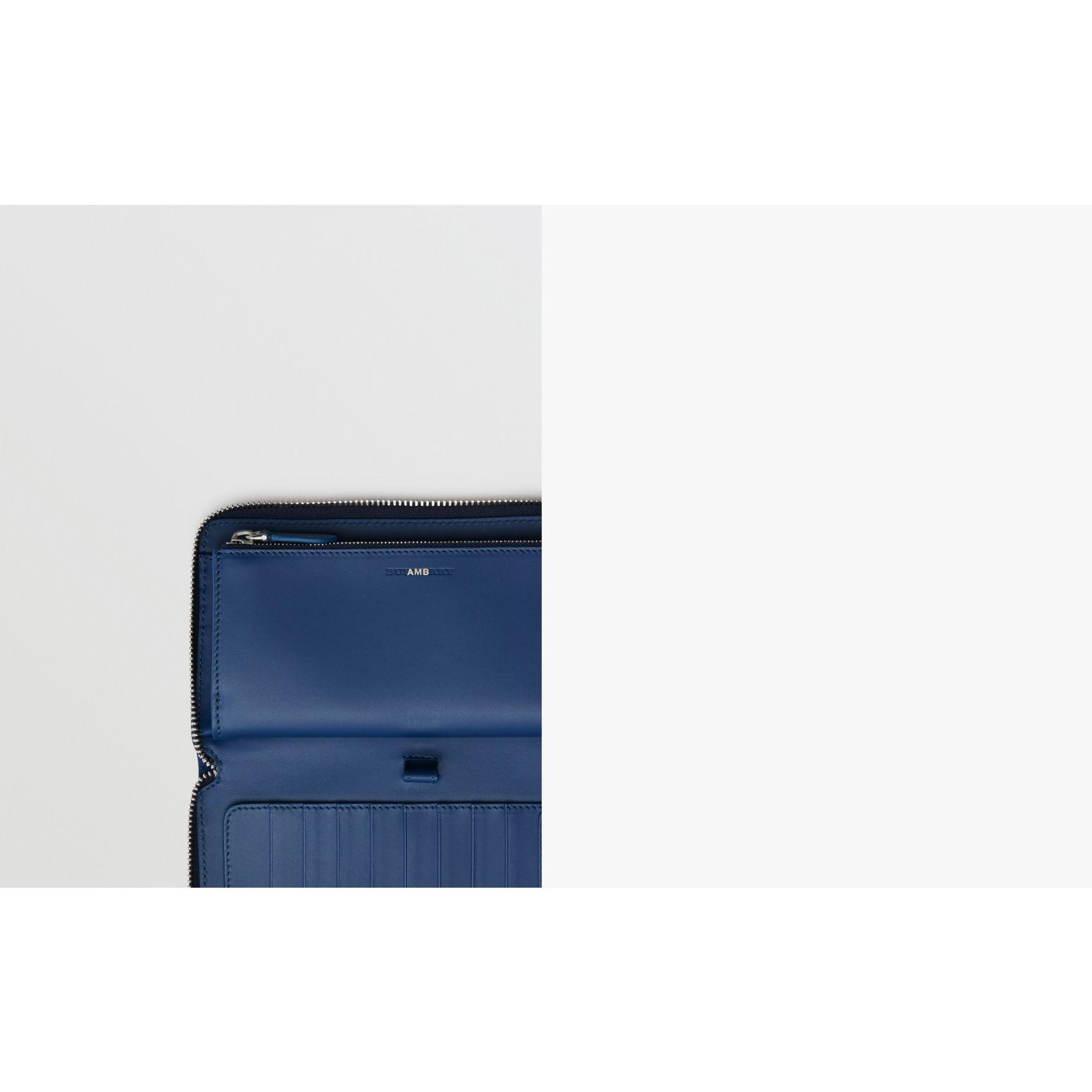 Grainy Leather Ziparound Wallet in Bright Ultramarine - Men | Burberry United States - gallery image 1