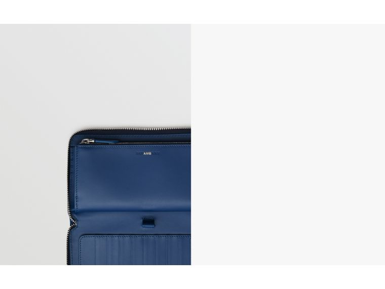 Grainy Leather Ziparound Wallet in Bright Ultramarine - Men | Burberry United States - cell image 1