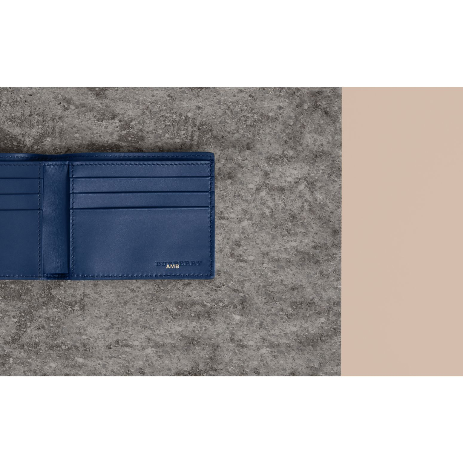Grainy Leather Bifold Wallet in Bright Ultramarine - Men | Burberry United Kingdom - gallery image 1