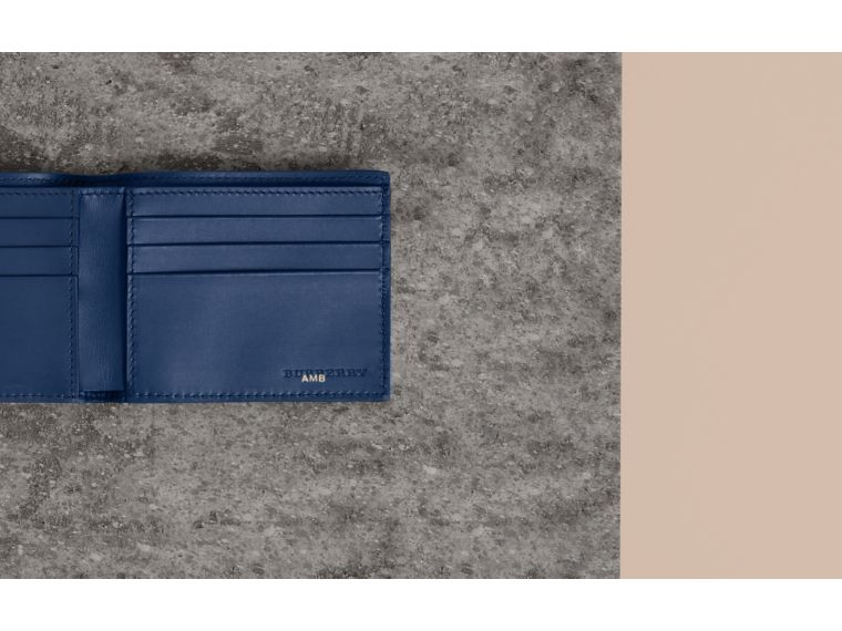 Grainy Leather Bifold Wallet in Bright Ultramarine - Men | Burberry - cell image 1