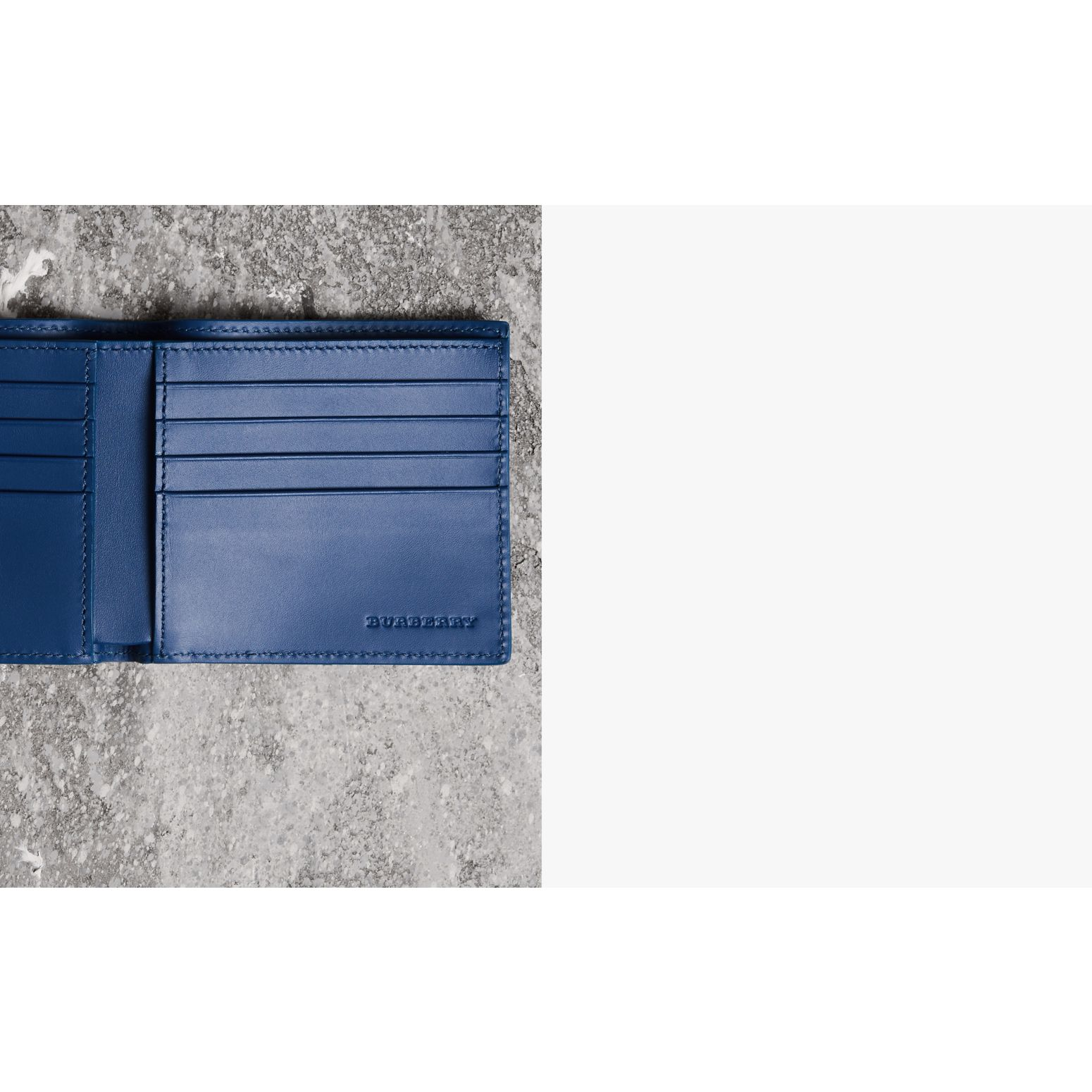 Grainy Leather International Bifold Wallet in Bright Ultramarine - Men | Burberry Canada - gallery image 1