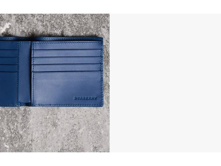 Grainy Leather International Bifold Wallet in Bright Ultramarine - Men | Burberry Canada - cell image 1