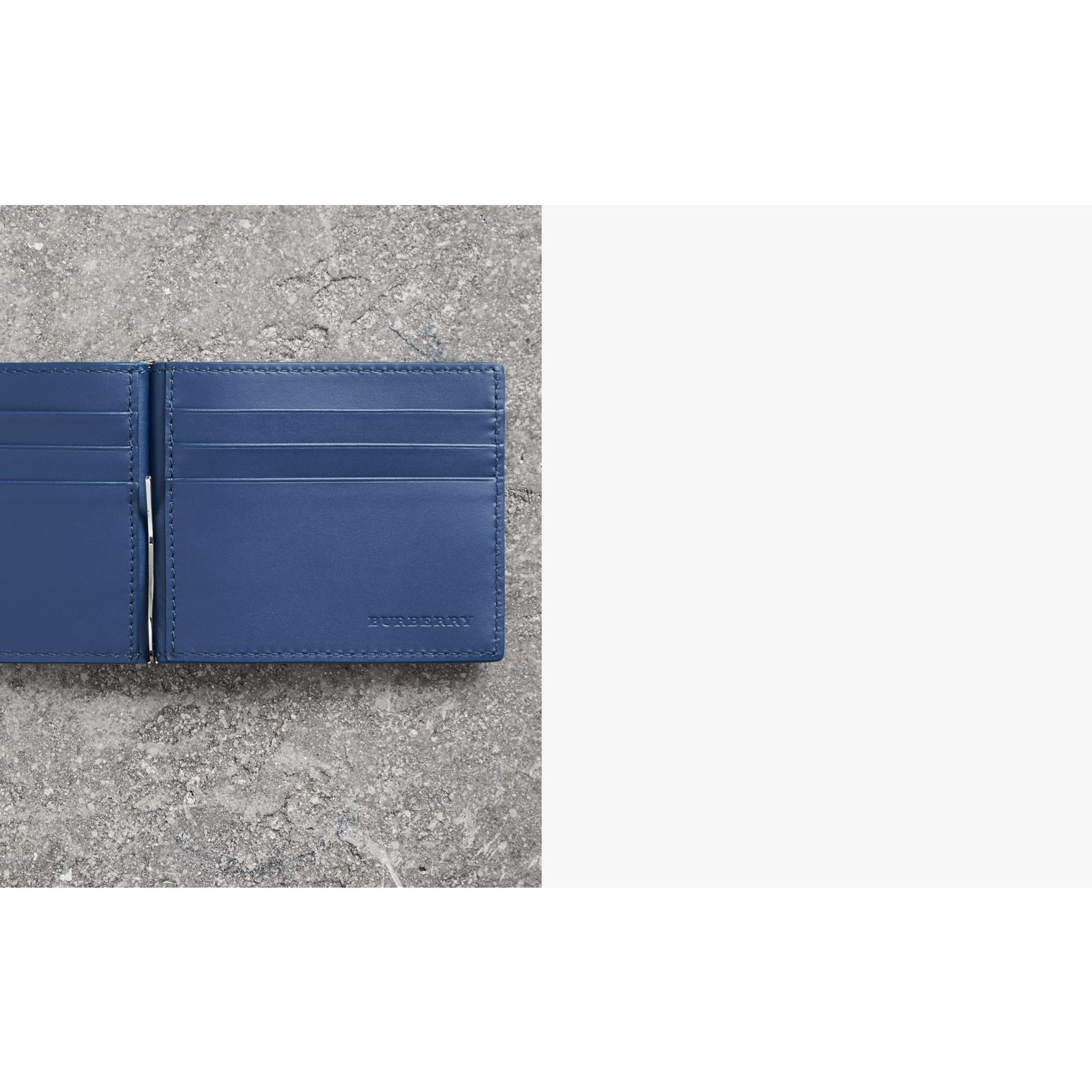 Grainy Leather Money Clip Card Wallet in Bright Ultramarine - Men | Burberry Singapore - gallery image 1