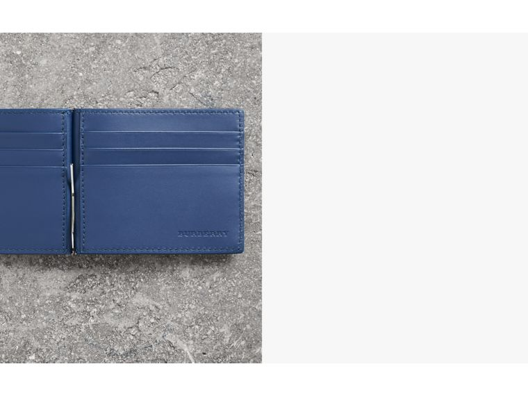 Grainy Leather Money Clip Card Wallet in Bright Ultramarine - Men | Burberry Canada - cell image 1