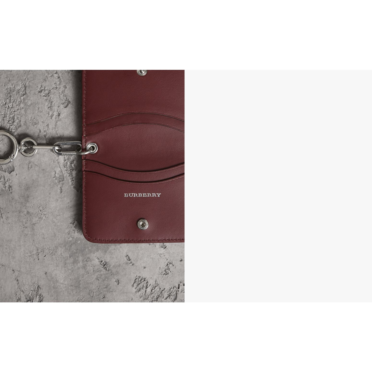 Link Detail Leather ID Card Case Charm in Bright Red | Burberry - gallery image 1