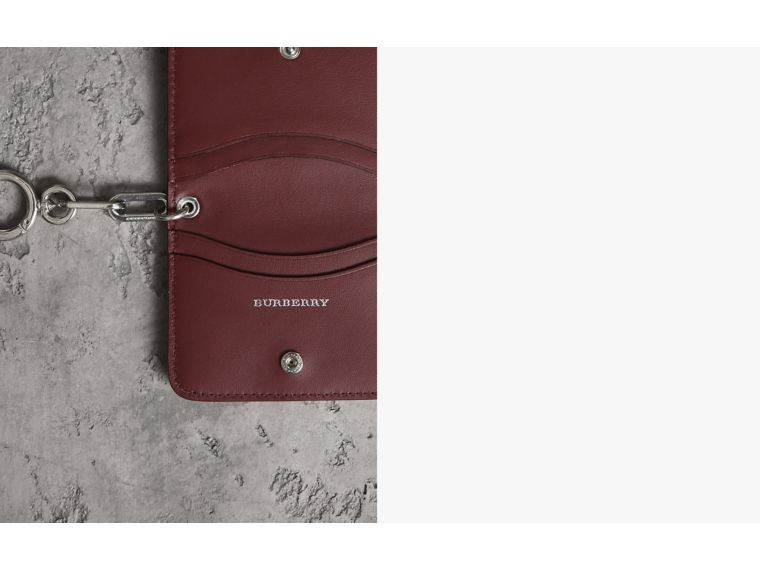 Link Detail Leather ID Card Case Charm in Bright Red | Burberry - cell image 1
