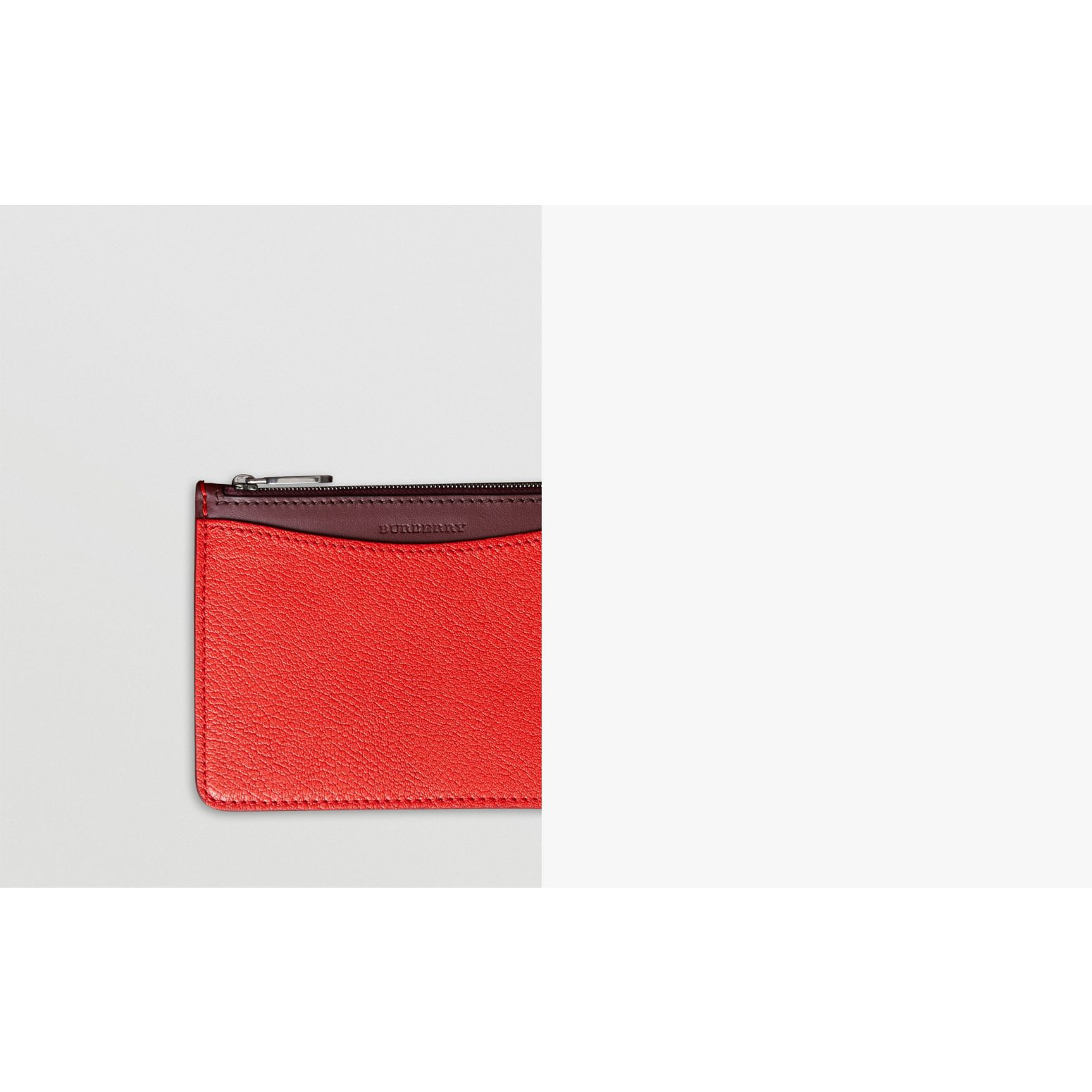 D-ring Leather Pouch with Zip Coin Case in Bright Red - Women | Burberry United States - gallery image 1