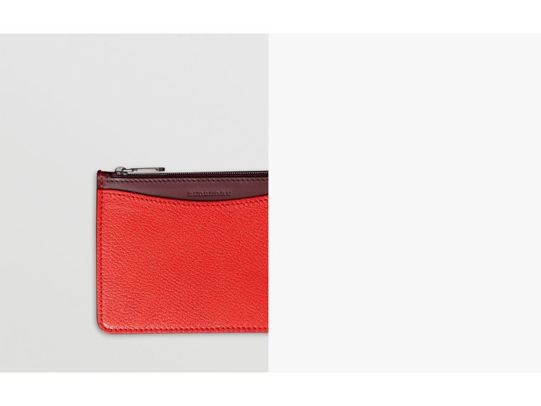 D-ring Leather Pouch with Zip Coin Case in Bright Red - Women | Burberry - cell image 1