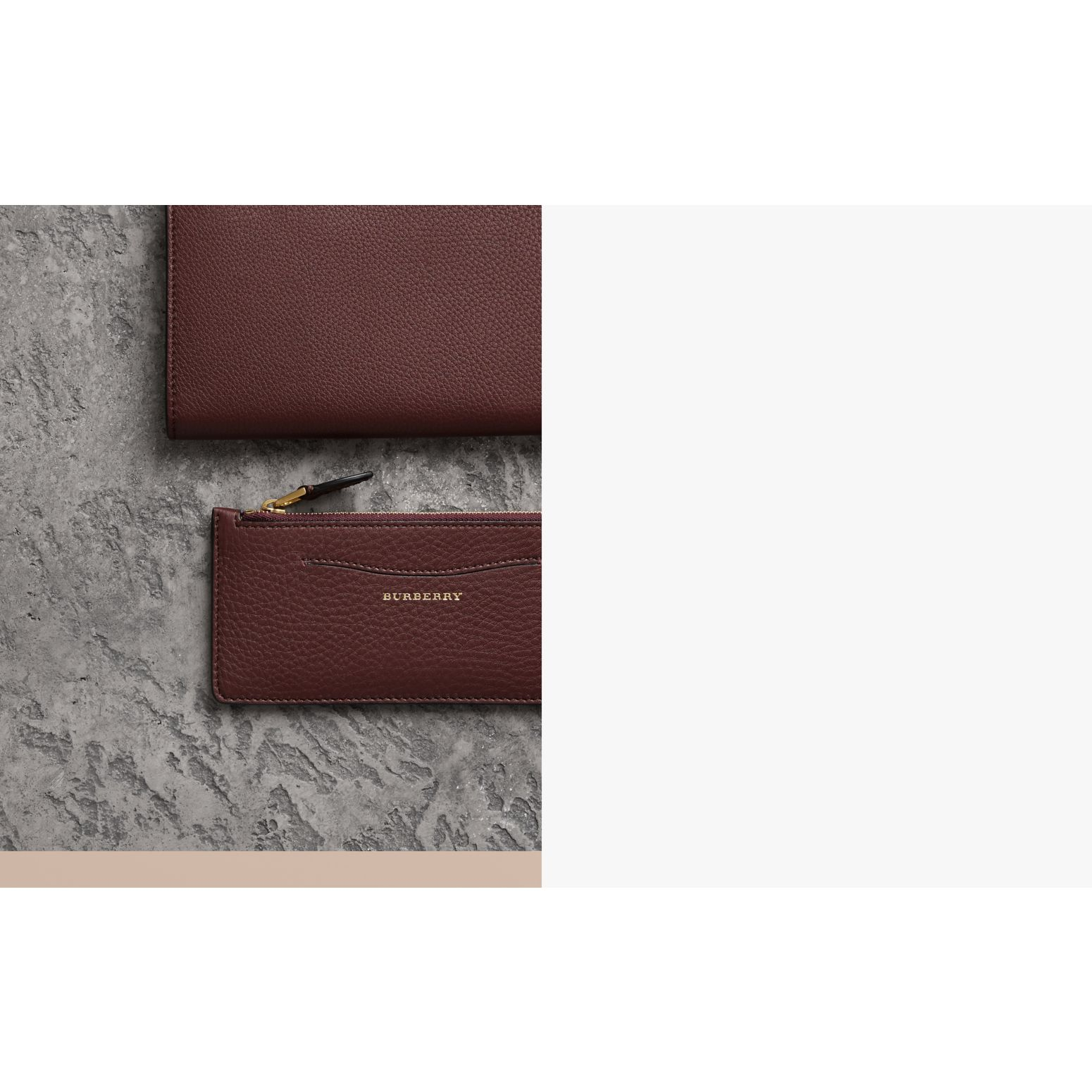 Two-tone Leather Ziparound Wallet and Coin Case in Deep Claret - Women | Burberry Australia - gallery image 1