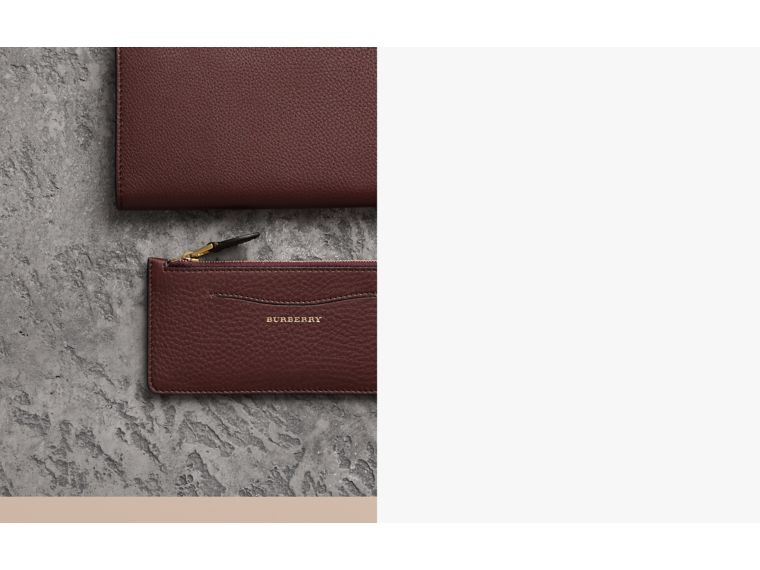 Two-tone Leather Ziparound Wallet and Coin Case in Deep Claret - Women | Burberry Australia - cell image 1