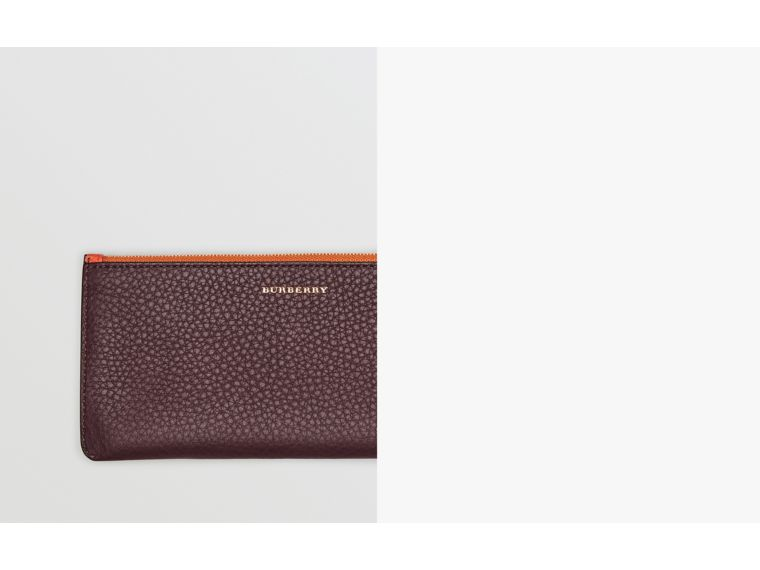 Two-tone Leather Continental Wallet in Deep Claret - Women | Burberry United States - cell image 1