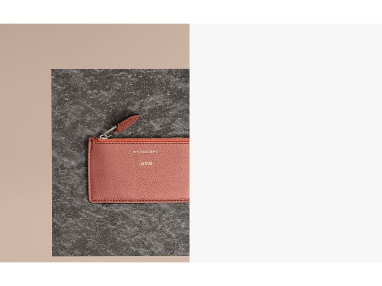 Two-tone Leather Zip Card Case in Dusty Rose - Women | Burberry Australia - cell image 1