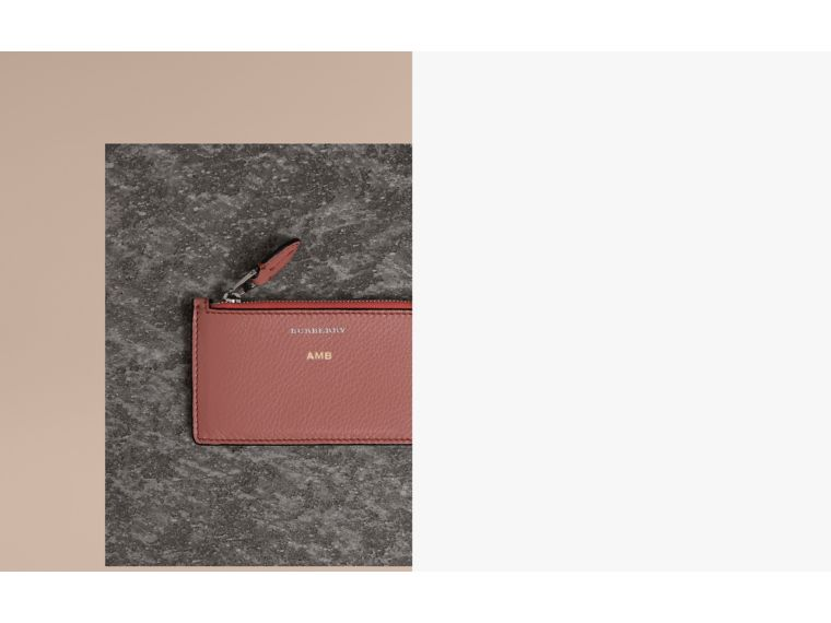Two-tone Leather Zip Card Case in Deep Claret | Burberry - cell image 1