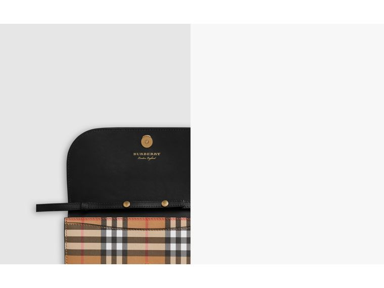 Detachable Strap Vintage Check Leather Wallet in Black - Women | Burberry United Kingdom - cell image 1