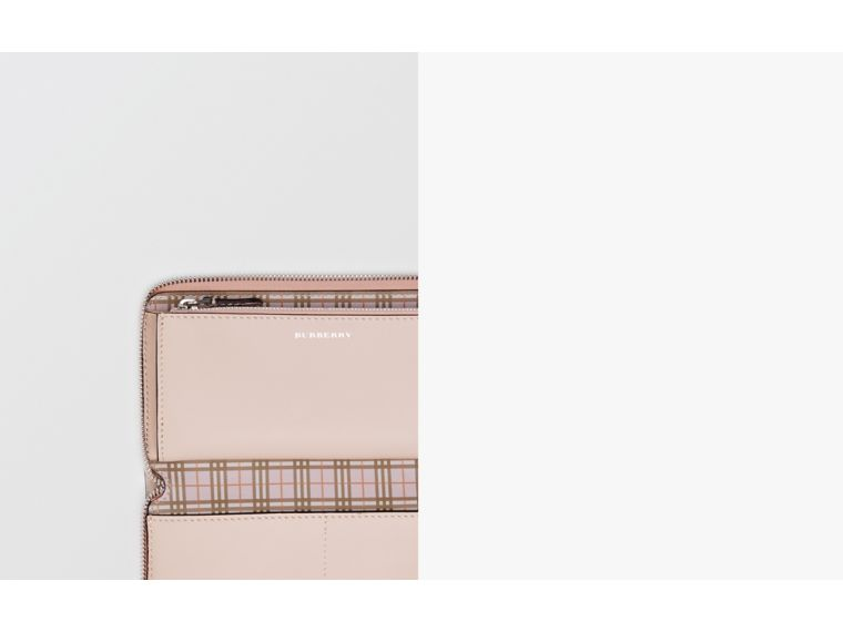 Small Scale Check and Leather Ziparound Wallet in Ice Pink - Women | Burberry - cell image 1