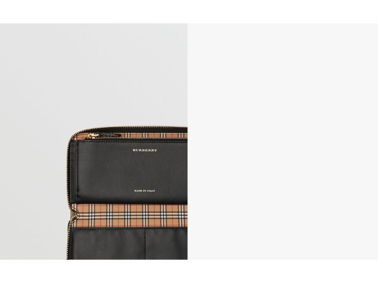 Small Scale Check and Leather Ziparound Wallet in Antique Yellow - Women | Burberry - cell image 1
