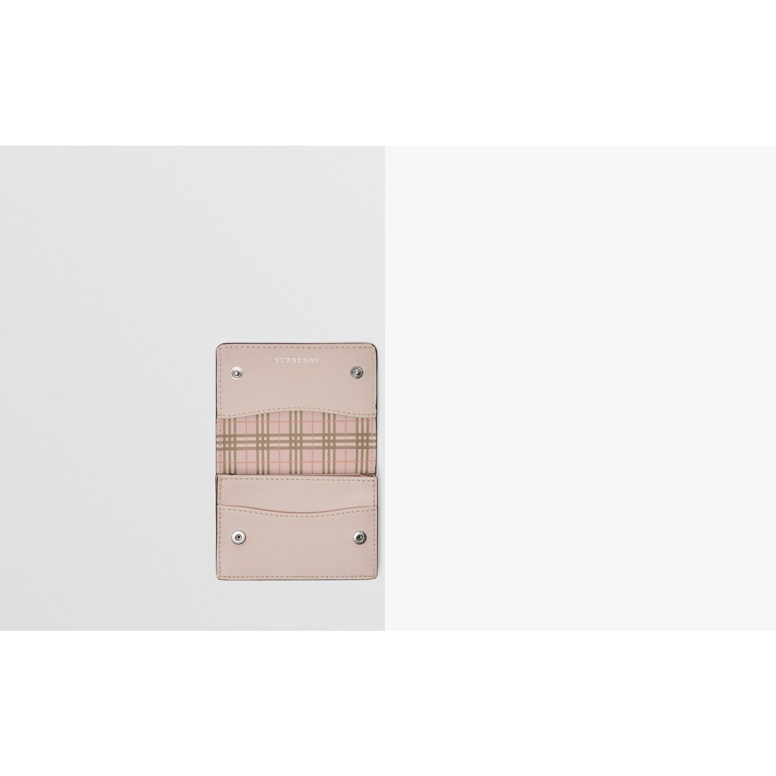 Small Scale Check and Leather Folding Card Case in Ice Pink - Women | Burberry - gallery image 1