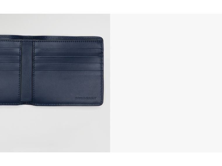 1983 Check and Leather International Bifold Wallet in Ink Blue - Men | Burberry - cell image 1