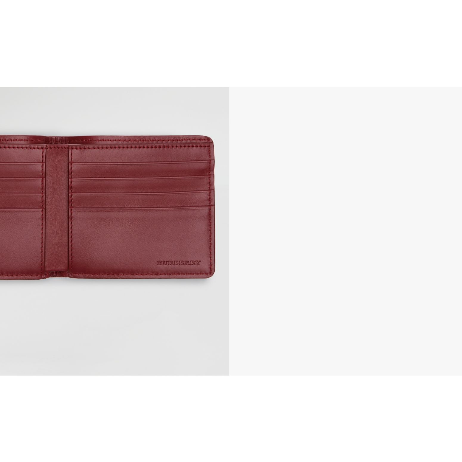 1983 Check and Leather International Bifold Wallet in Antique Red - Men | Burberry Singapore - gallery image 1