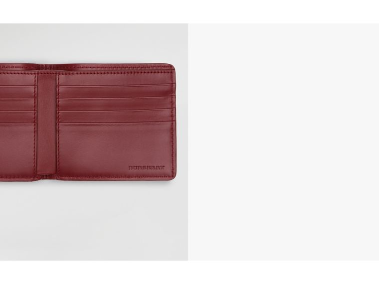 1983 Check and Leather International Bifold Wallet in Antique Red - Men | Burberry United Kingdom - cell image 1