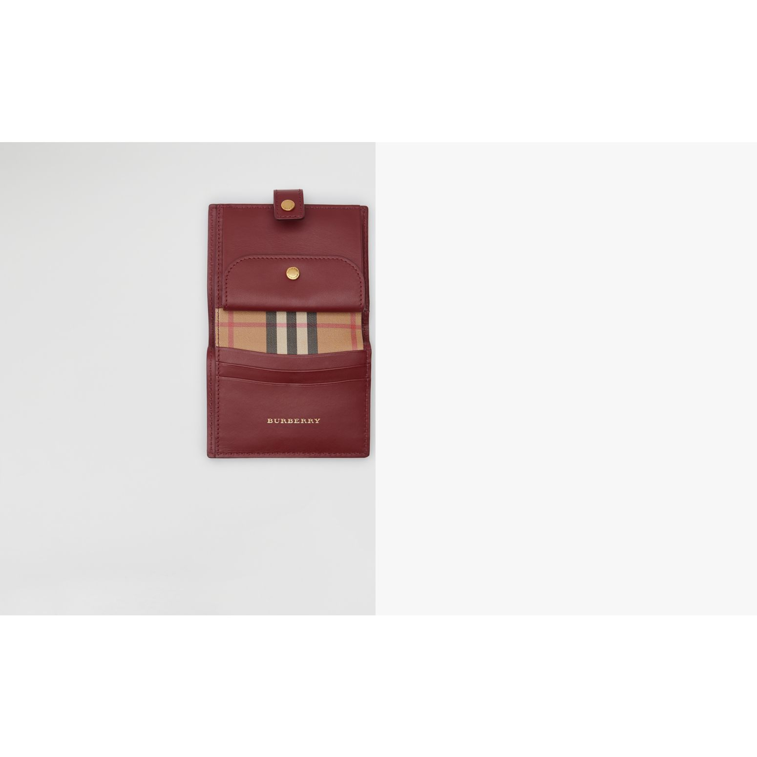 Vintage Check and Leather Folding Wallet in Crimson - Women | Burberry United States - gallery image 1