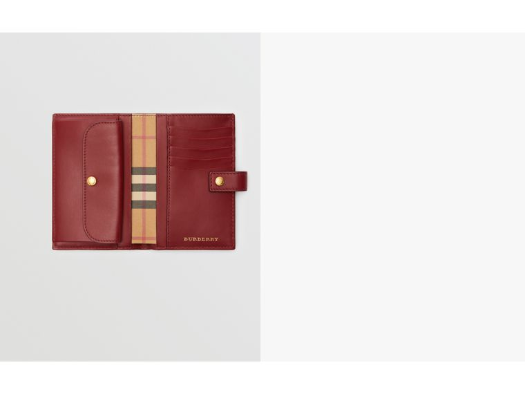 Vintage Check and Leather Folding Wallet in Crimson - Women | Burberry - cell image 1