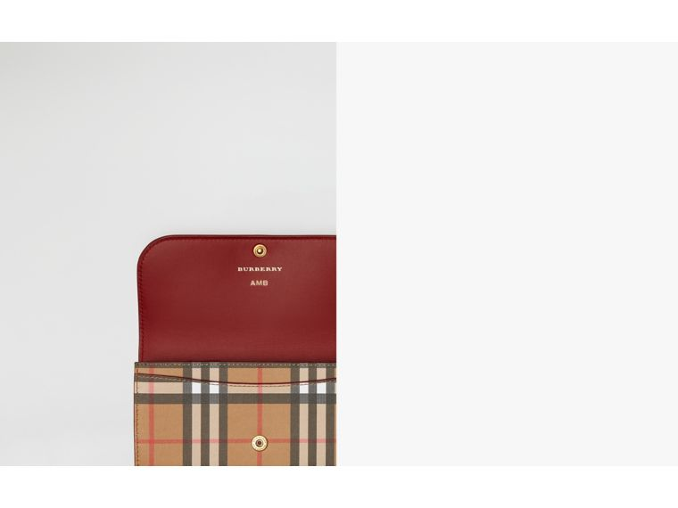 Vintage Check and Leather Continental Wallet in Crimson - Women | Burberry Australia - cell image 1