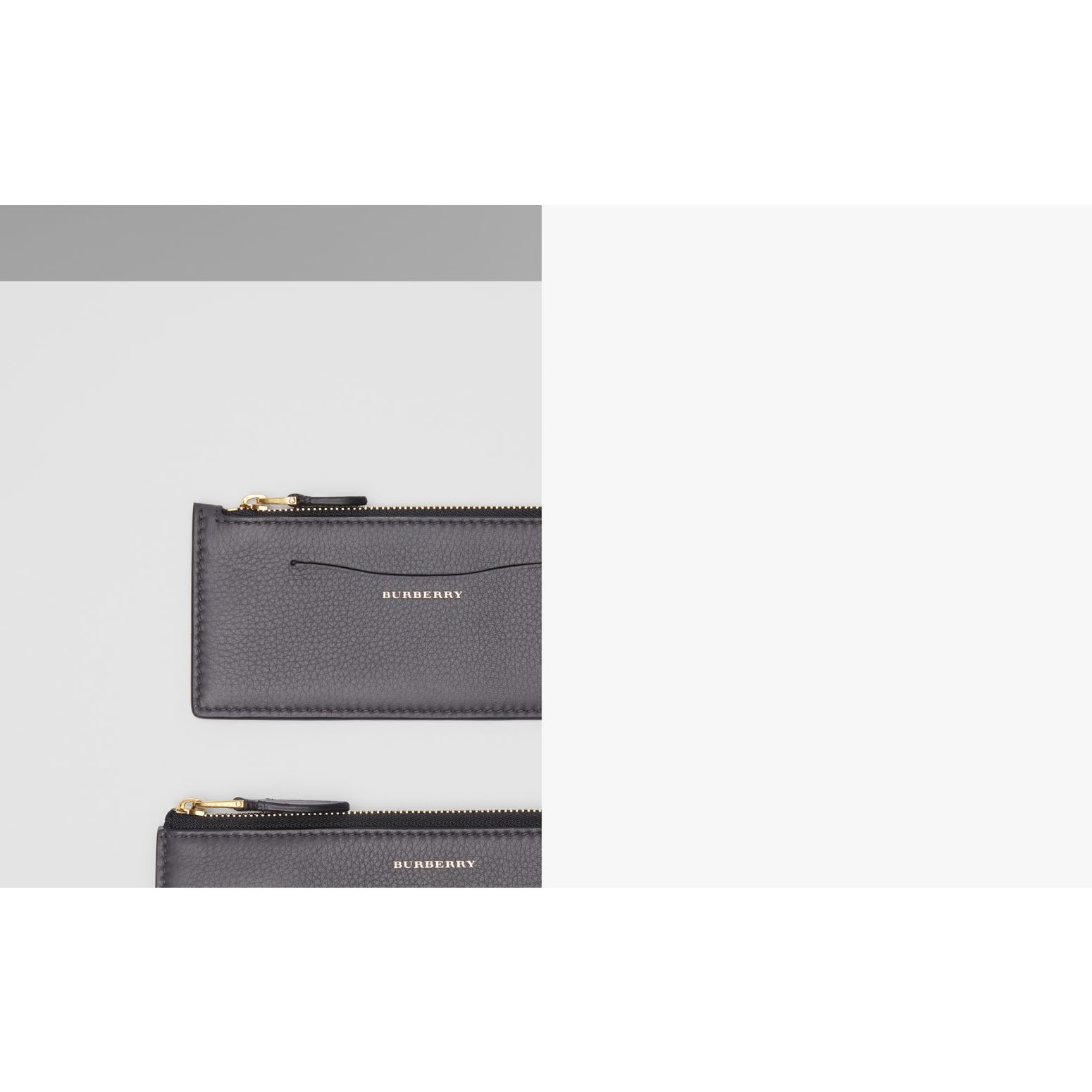 Two-tone Leather Ziparound Wallet and Coin Case in Charcoal Grey - Women | Burberry United Kingdom - gallery image 1