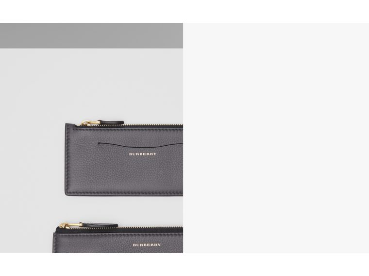 Two-tone Leather Ziparound Wallet and Coin Case in Charcoal Grey - Women | Burberry - cell image 1