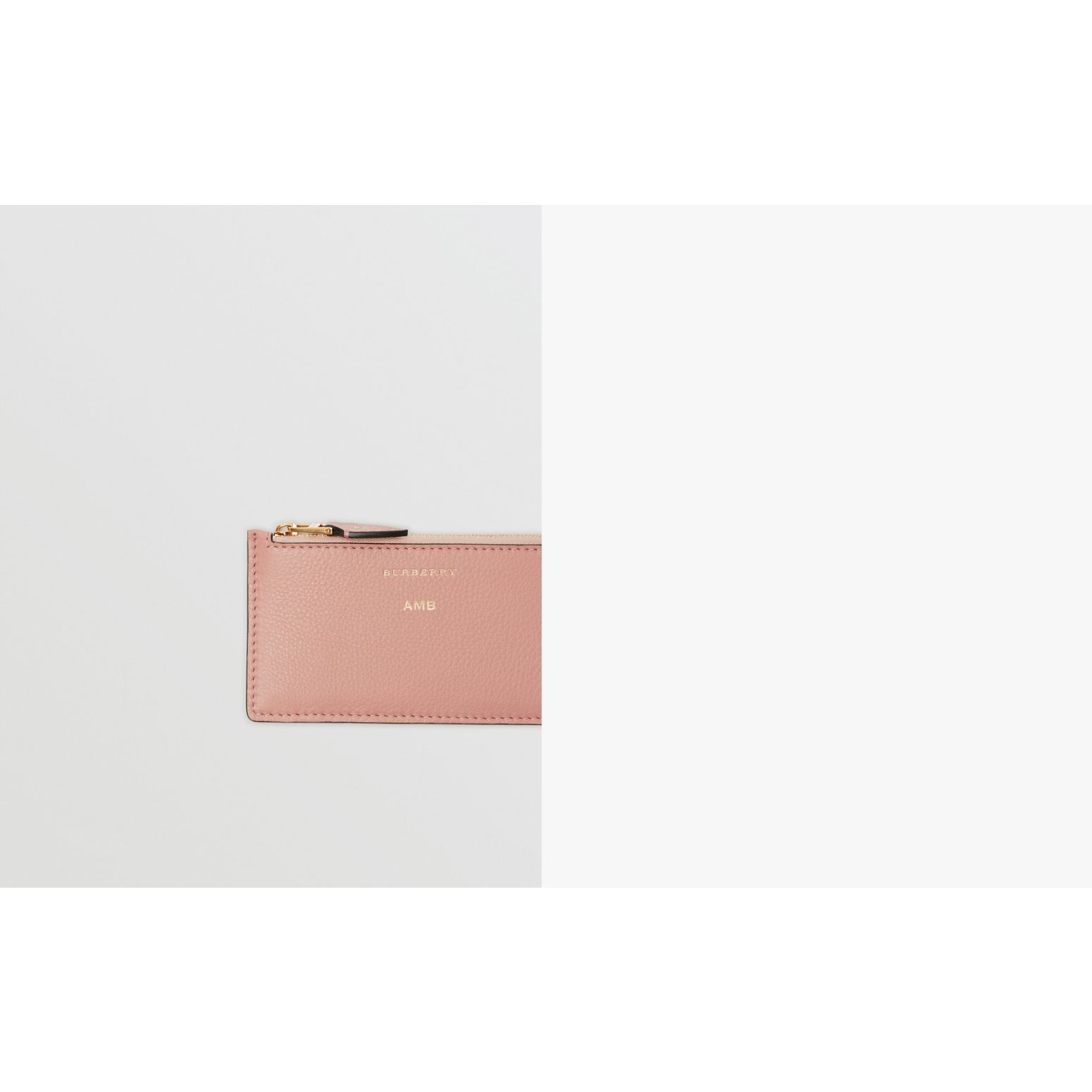 Two-tone Leather Zip Card Case in Ash Rose - Women | Burberry - gallery image 1