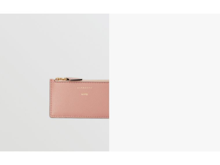 Two-tone Leather Zip Card Case in Ash Rose - Women | Burberry Australia - cell image 1