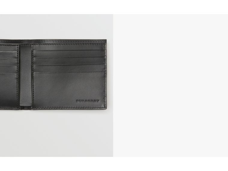 Perforated Check Leather International Bifold Wallet in Black - Men | Burberry United States - cell image 1