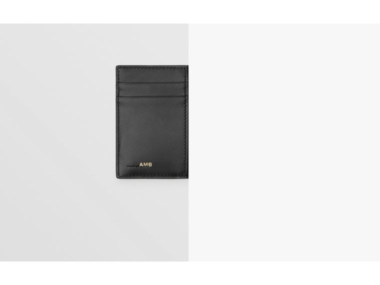 Grainy Leather Folding Card Case in Black - Men | Burberry Australia - cell image 1