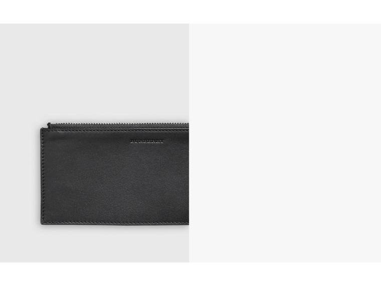 London Check and Leather Travel Wallet in Charcoal/black - Men | Burberry Singapore - cell image 1