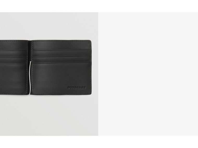 London Check and Leather Money Clip Card Wallet in Charcoal/black - Men | Burberry Hong Kong - cell image 1