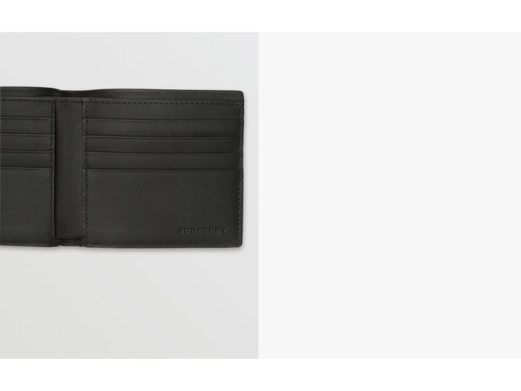 London Check and Leather International Bifold Wallet in Charcoal/black - Men | Burberry Hong Kong - cell image 1