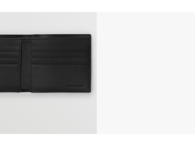 London Check and Leather International Bifold Wallet in Navy/black - Men | Burberry - cell image 1