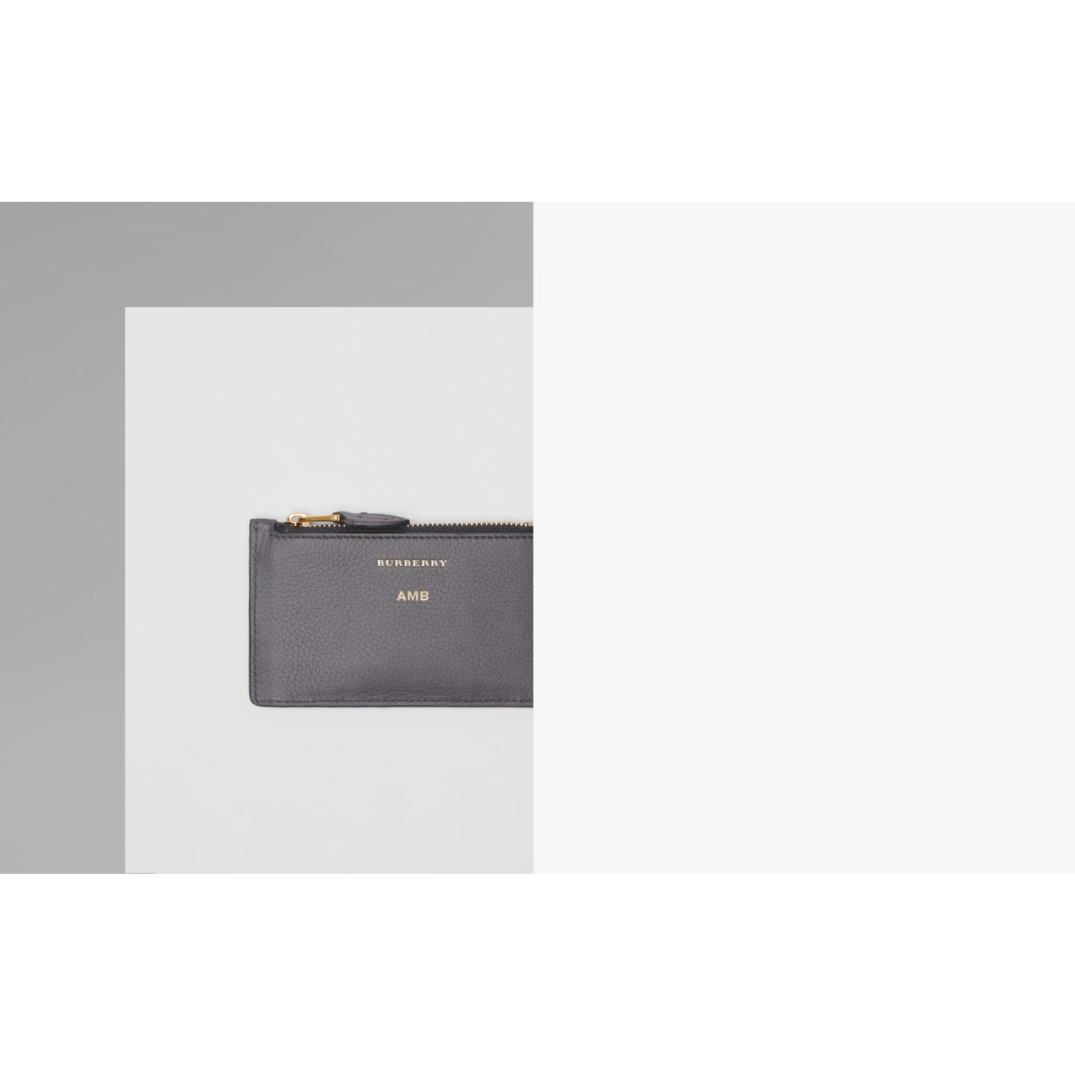 Two-tone Leather Card Case in Charcoal Grey - Women | Burberry - gallery image 1