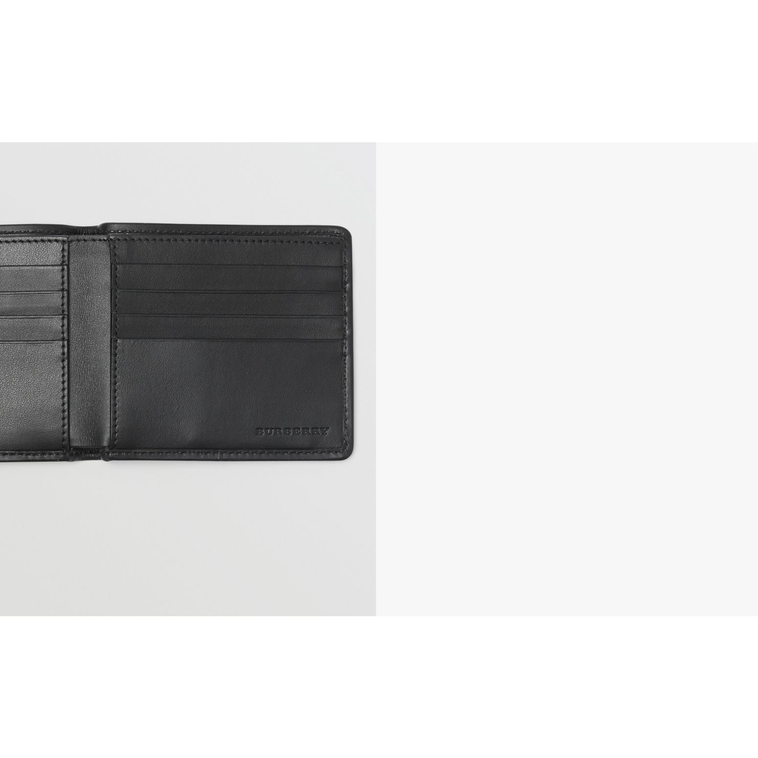 1983 Check and Leather International Bifold Wallet in Black - Men | Burberry - gallery image 1