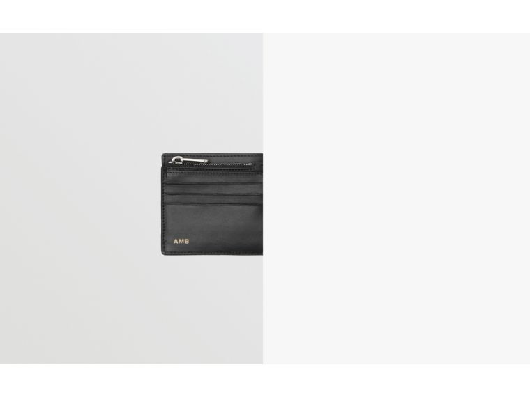 Grainy Leather International Bifold Wallet in Black | Burberry - cell image 1